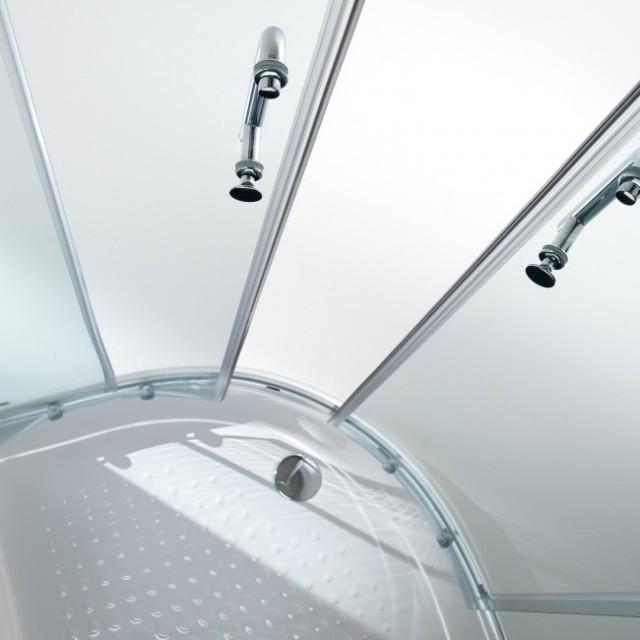Box doccia in vetro semicircolare doppia porta scorrevole - Porta doccia vetro ...