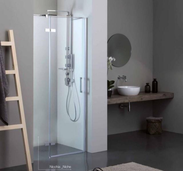 Porta battente per doccia a nicchia 8mill infinity - Porta doccia nicchia prezzi ...
