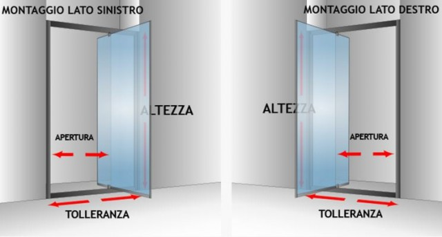 Porta doccia nicchia con anta battente cristal - Porta per doccia a nicchia ...