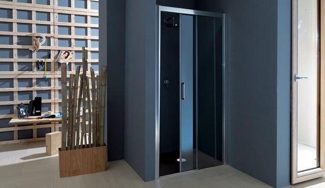 Porta scorrevole per doccia in cristallo psc55 - Porta in cristallo scorrevole ...