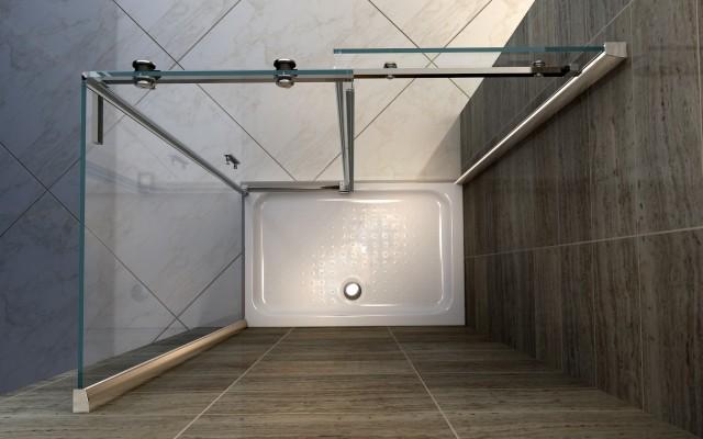Box doccia con anta fissa e porta scorrevole 045f - Vetro doccia scorrevole ...
