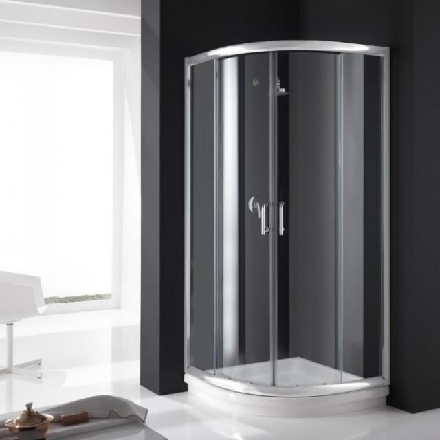 Box doccia in vetro semicircolare doppia porta scorrevole - Porta accappatoio da doccia ...