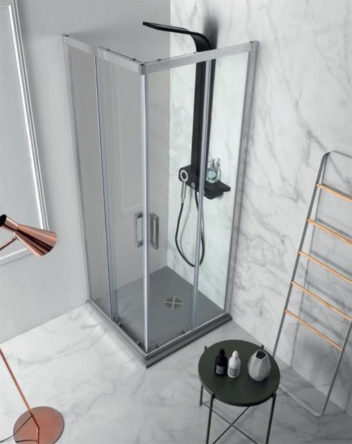 Box doccia con doppia porta scorrevole flex for Doppia porta scorrevole