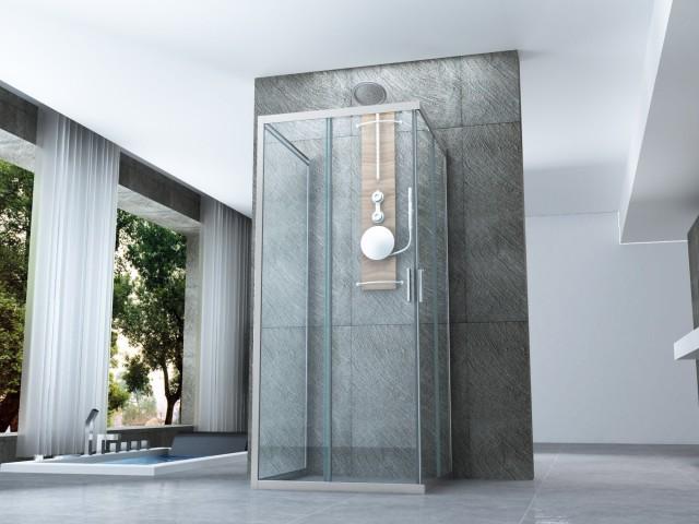 Box doccia in cristallo con doppia porta scorrevole 014 - Porta scorrevole doppia ...