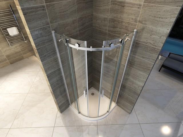 Box doccia semicircolare apertura scorrevole senza profili 046c - Box doccia senza telaio ...
