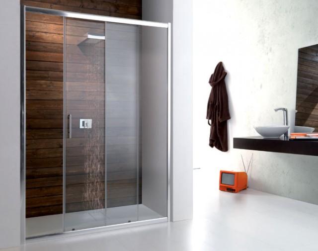 Porta scorrevole in cristallo per doccia a nicchia psc50 - Porta doccia nicchia prezzi ...
