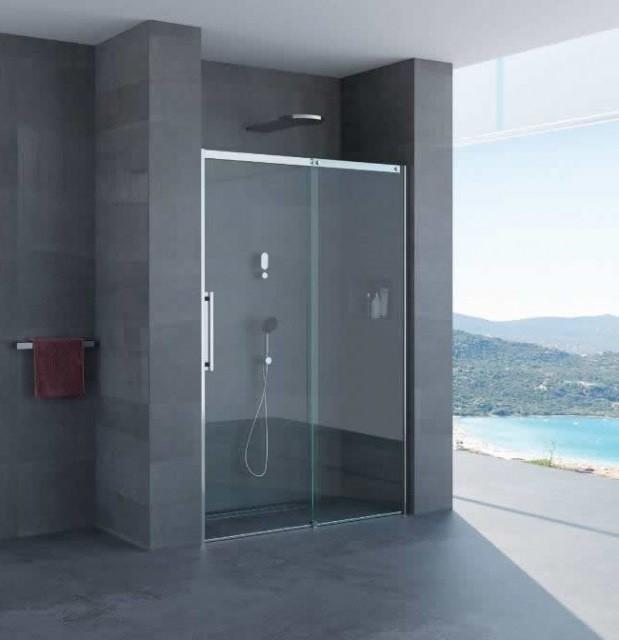 Porta scorrevole per doccia a nicchia gaia profili in acciaio inox - Porta in cristallo scorrevole ...