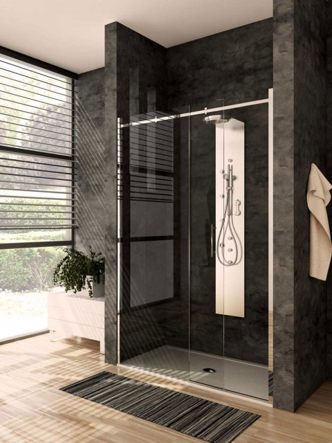 Porta scorrevole per doccia a nicchia qubo - Porta per doccia ...