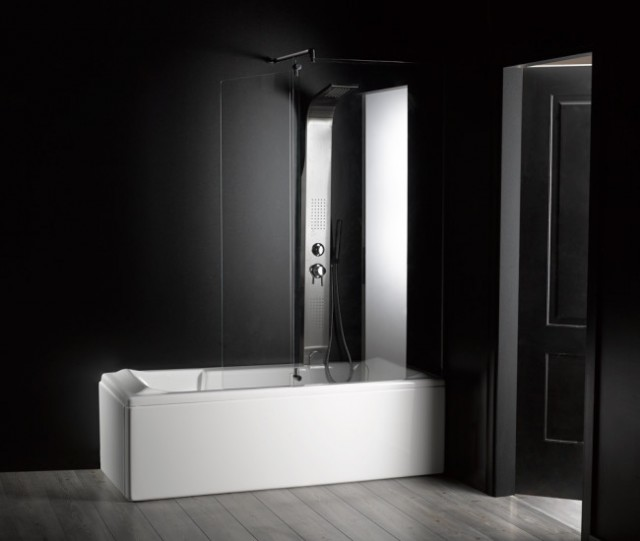 Vasca da bagno combinata con box doccia rettangolare - Bagno con doccia ...