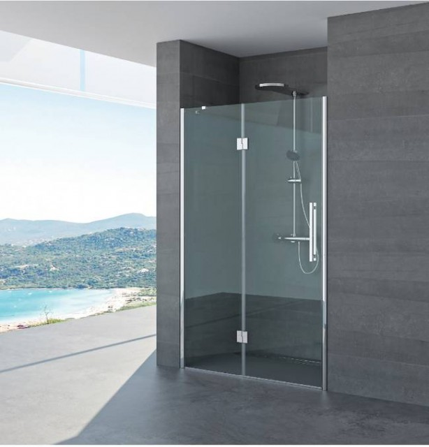 Porta battente per doccia a nicchia fiorella profili in acciaio inox for Porta doccia nicchia prezzi
