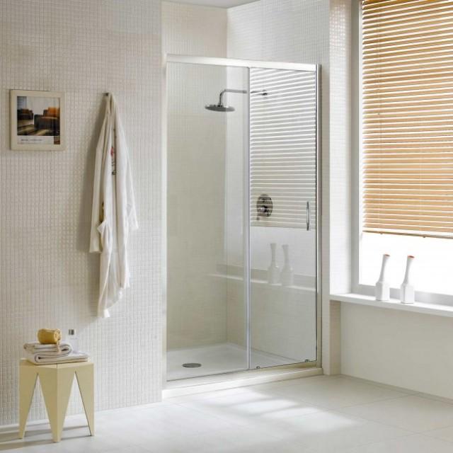 Porta scorrevole in cristallo per doccia a nicchia young - Porta scorrevole cristallo ...