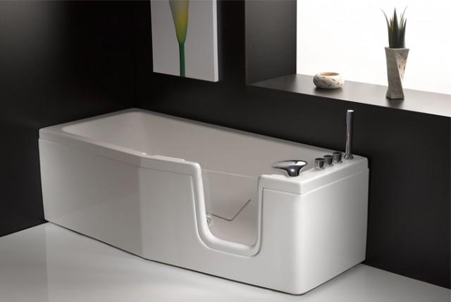 Vasca da bagno salvaspazio con sportello compact - Mezza vasca da bagno ...
