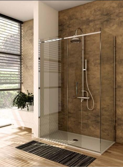 Box doccia con porta scorrevole qubo - Porta in cristallo scorrevole ...