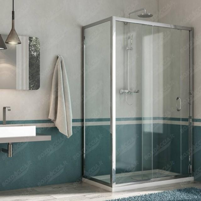 Box doccia con porta scorrevole replay - Porta in cristallo scorrevole ...