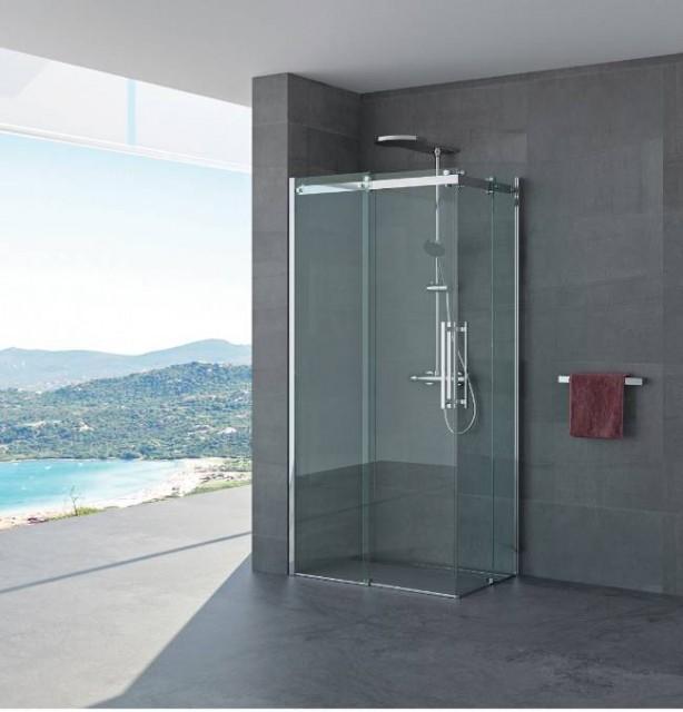 Box doccia doppia porta scorrevole lucia profili in - Porta scorrevole doppia ...