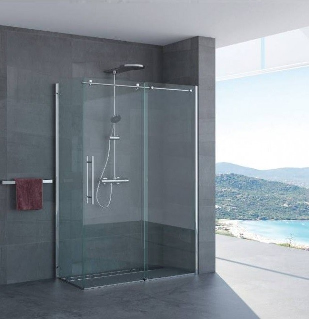 Box doccia porta scorrevole giorgia 3 lati profili in acciaio inox - Vetro doccia scorrevole ...