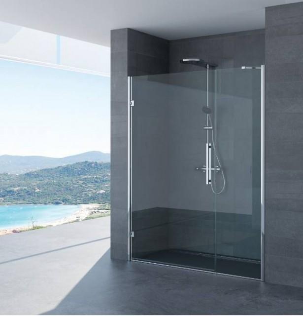 Porta battente per doccia a nicchia paola profili in acciaio inox - Porta doccia nicchia prezzi ...