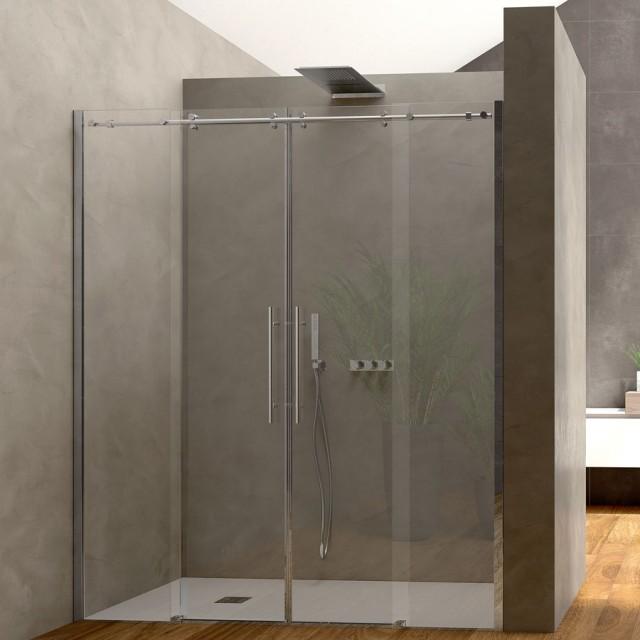 Porta scorrevole per doccia a nicchia luisa profili in - Porta per doccia a nicchia ...