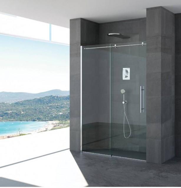 Porta scorrevole per doccia a nicchia marta profili in acciaio inox for Porta doccia nicchia prezzi