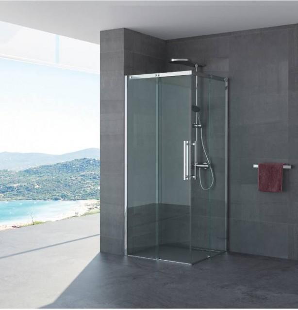 Box doccia doppia porta scorrevole ines profili in - Porta scorrevole doppia ...