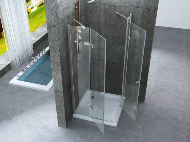 Box doccia doppia apertura libro h vetro trasparente mm