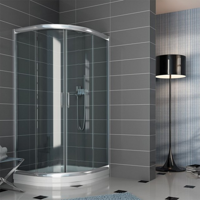 Box doccia vetro semicircolare doppia porta scorrevole - Vetri per doccia ...