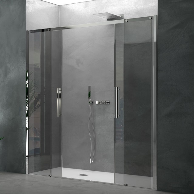 Doppia porta scorrevole per doccia a nicchia ines profili in acciaio inox - Porta scorrevole per doccia ...