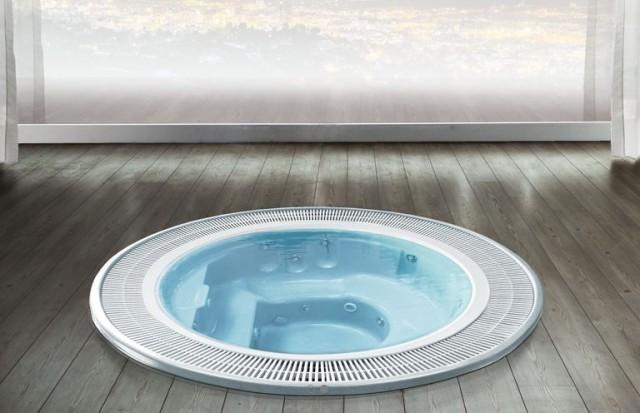 Minipiscina idromassaggio con bordo a sfioro spa 240 for Piscina vetroresina usata