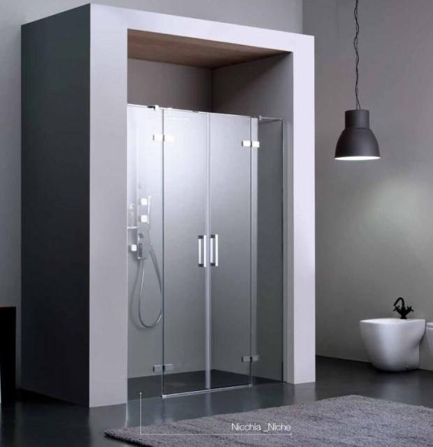 Porta battente a doppia anta per doccia a nicchia 8mill - Porta per doccia ...