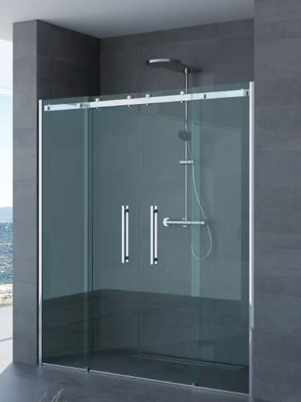 Porta doppia anta scorrevole per doccia a nicchia arianna profili in acciaio inox - Porta in cristallo scorrevole ...