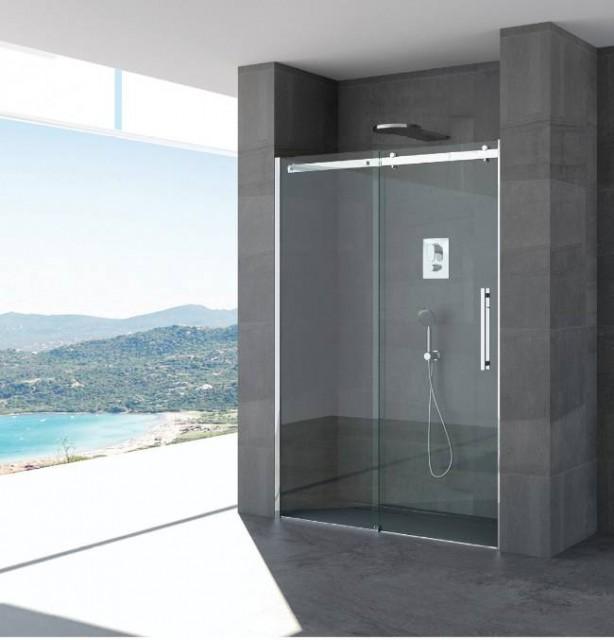 Porta scorrevole per doccia a nicchia olivia profili in acciaio inox - Porta scorrevole per doccia ...