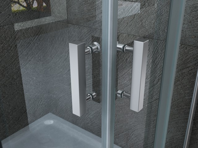 Box doccia con doppia porta scorrevole senza profili 046 - Altezza maniglia porta ...