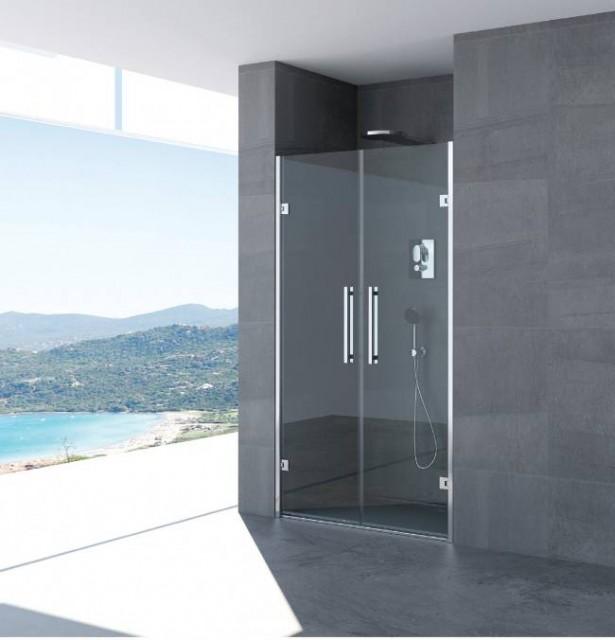 Doppia porta battente per doccia a nicchia sonia profili in acciaio inox - Porta doccia nicchia prezzi ...