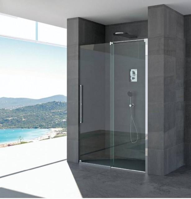 Porta scorrevole per doccia a nicchia cristina profili in acciaio inox - Porta scorrevole per doccia ...