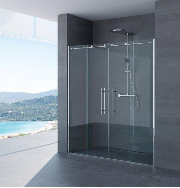 Porta scorrevole per doccia a nicchia luisa profili in acciaio inox - Porta scorrevole per doccia ...