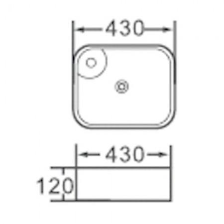 """Lavabo da appoggio in ceramica quadrato 43x43 h12 """"808"""""""