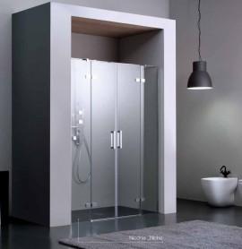 Porta battente a doppia anta per doccia a nicchia 8mill for Porta doppia anta