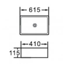 """Lavabo da appoggio in ceramica rettangolare 61.5x41 h11.5 """"816"""""""