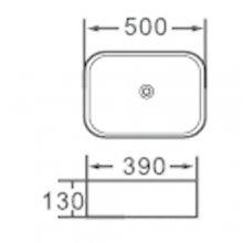 """Lavabo da appoggio in ceramica rettangolare  50x39 h13 """"802"""""""