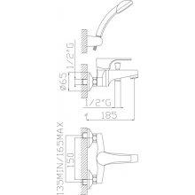 Monocomando vasca con duplex e flessibile doppia aggraffatura Domino