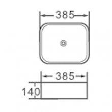 """Lavabo da appoggio in ceramica quadrato  38,5x38,5 h14 """"801"""""""