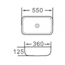 """Lavabo da appoggio in ceramica Rettangolare 55x36 h12.5  """"820"""""""