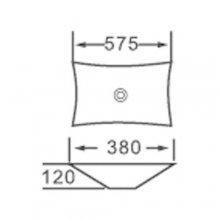"""Lavabo da appoggio in ceramica Rettangolare 57,5x38 h12 """"821"""""""