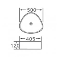 """Lavabo da appoggio in ceramica triangolare  50x40,5 h12 """"812"""""""