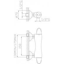Miscelatore termostatico doccia esterno Cromato
