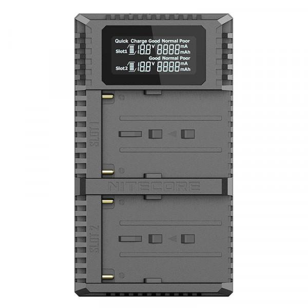 Incarcator dual Nitecore USN3 PRO pentru acumulatori Sony tip NP-FM500H, NP-F730, NP-F750, NP-F770, NP-F970, NP-F550