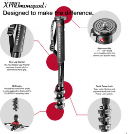 Manfrotto MMXPROC5 monopied foto-video din carbon cu 5 sectiuni