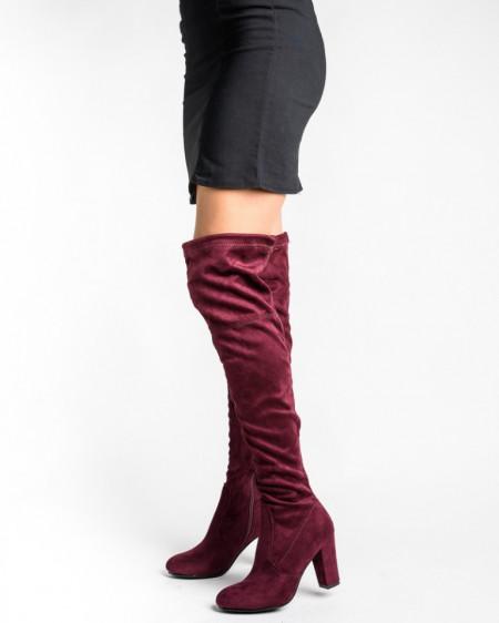 Slika Čizme preko kolena na štiklu LX85055 bordo