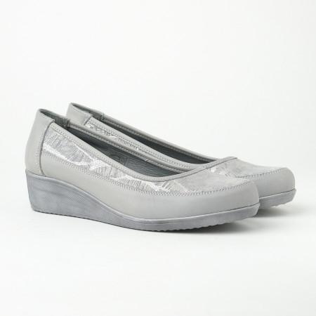 Slika Kožne ženske cipele 17495/383 sive