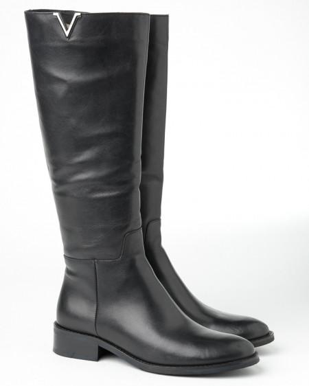 Slika Kožne ženske ravne čizme 216-3649 crne